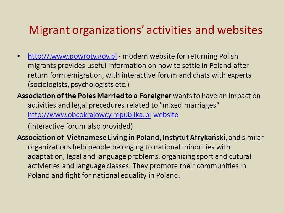 Migrant organizations' activities and websites