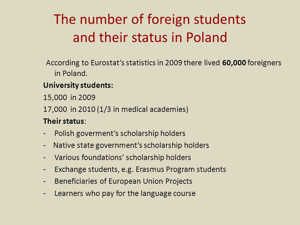 The number of foreign students and their status in Poland