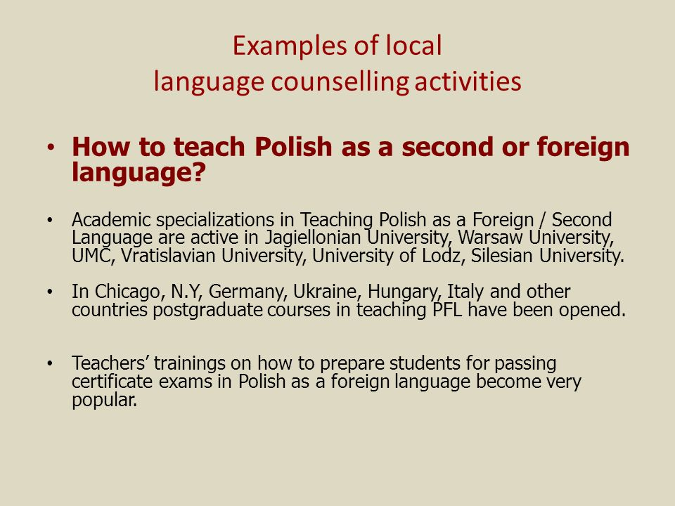 Examples of local language counselling activities