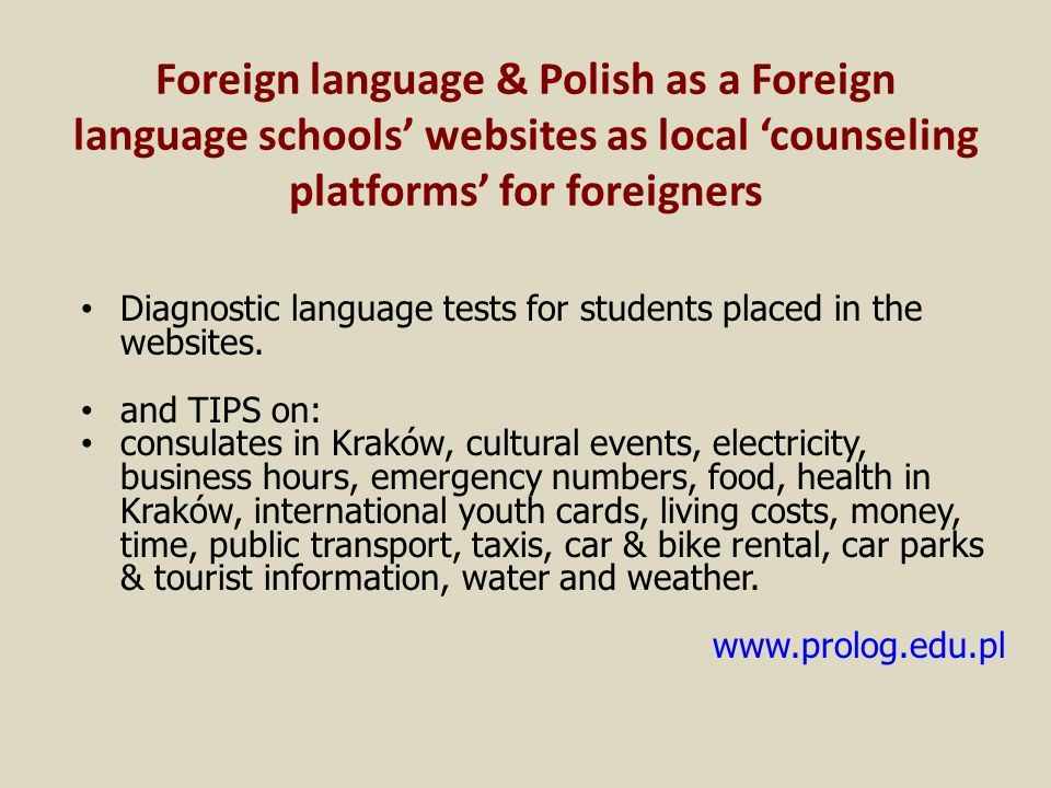 Foreign language & Polish as a Foreign language schools' websites as local 'counseling platforms' for foreigners