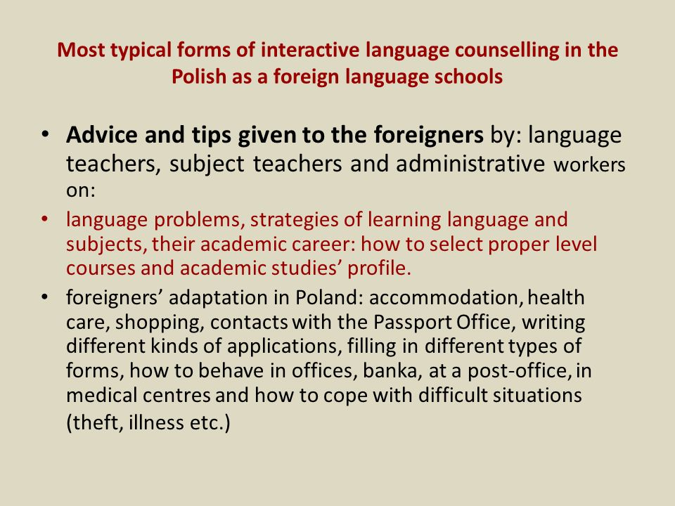 Most typical forms of interactive language counselling in the Polish as a foreign language schools