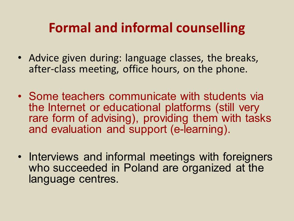 Formal and informal counselling