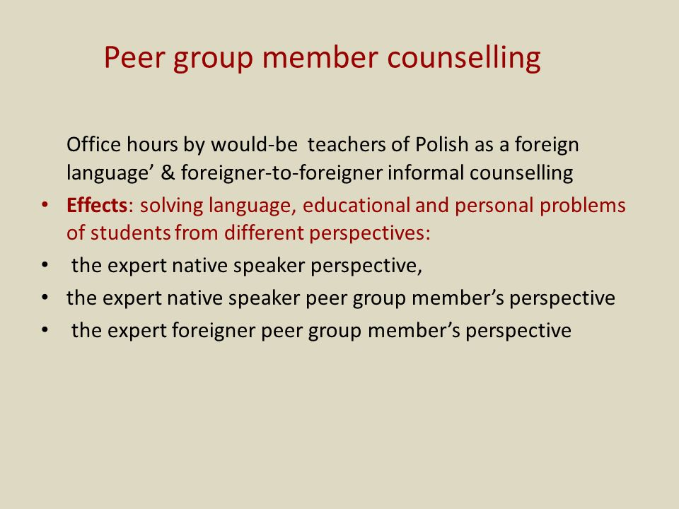 Peer group member counselling