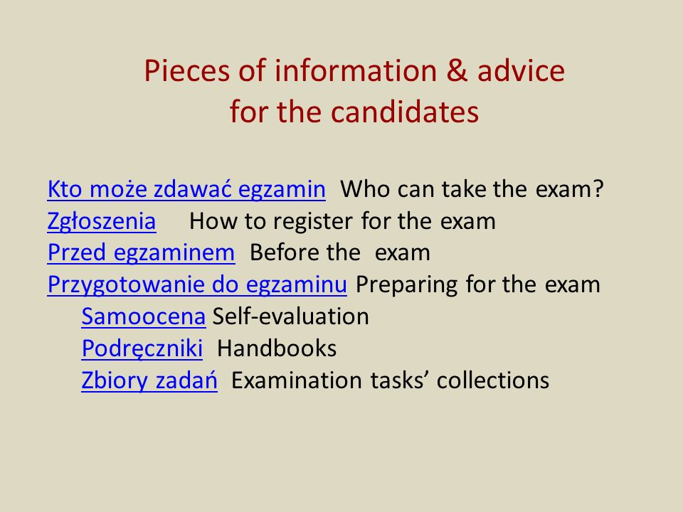 Pieces of information & advice