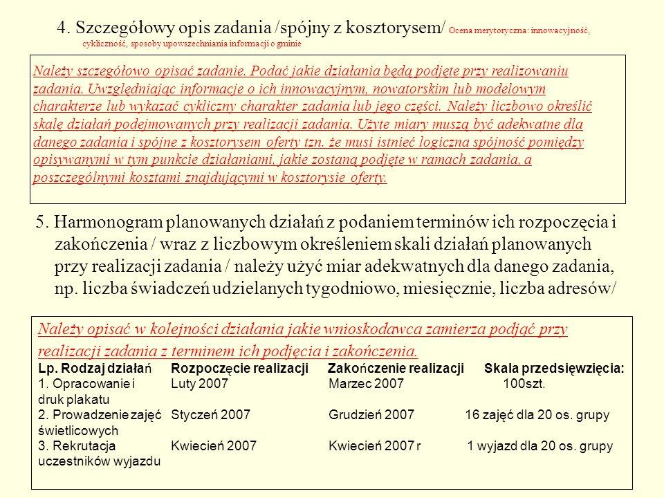 4. Szczegółowy opis zadania /spójny z kosztorysem/ Ocena merytoryczna: innowacyjność, cykliczność, sposoby upowszechniania informacji o gminie