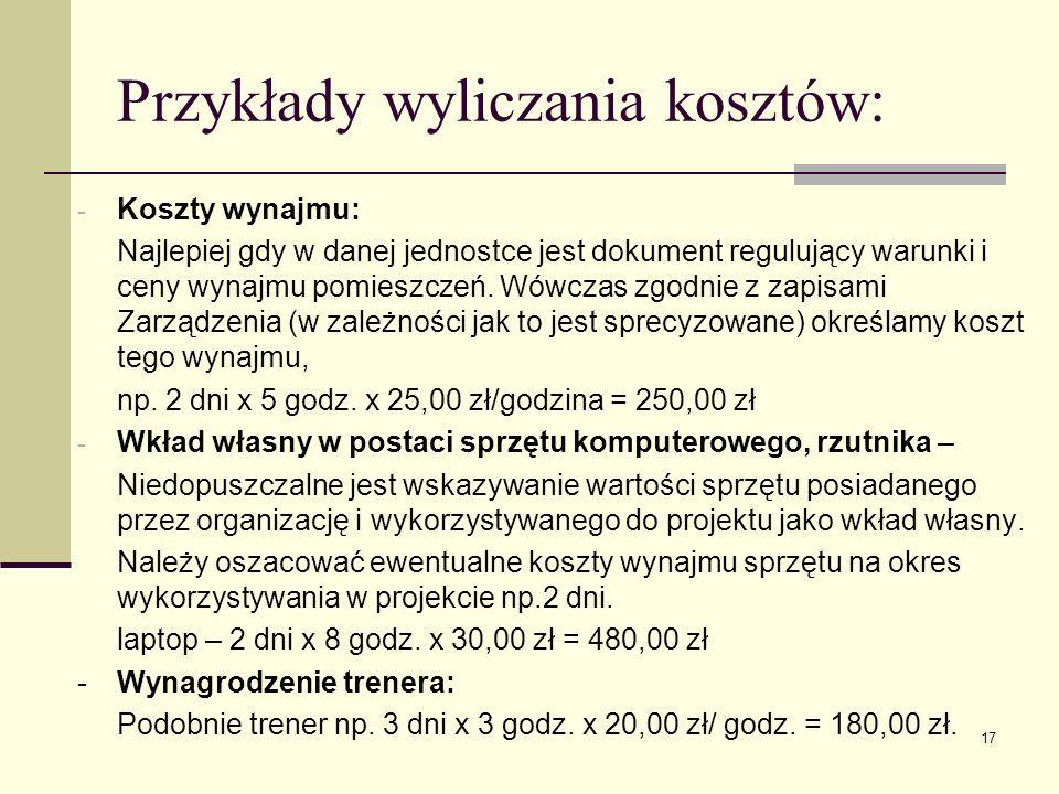 Przykłady wyliczania kosztów: