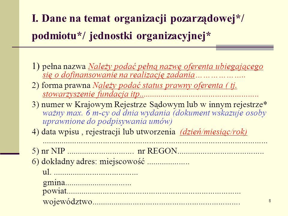 I. Dane na temat organizacji pozarządowej. / podmiotu
