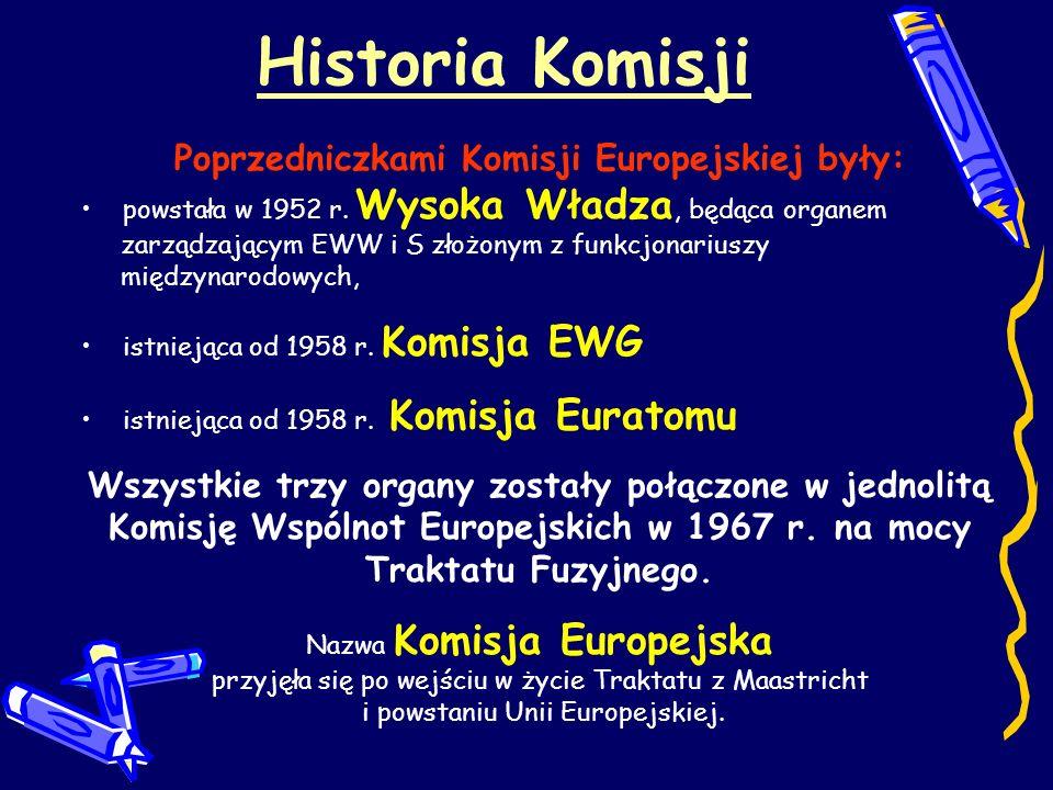 Historia Komisji Poprzedniczkami Komisji Europejskiej były: