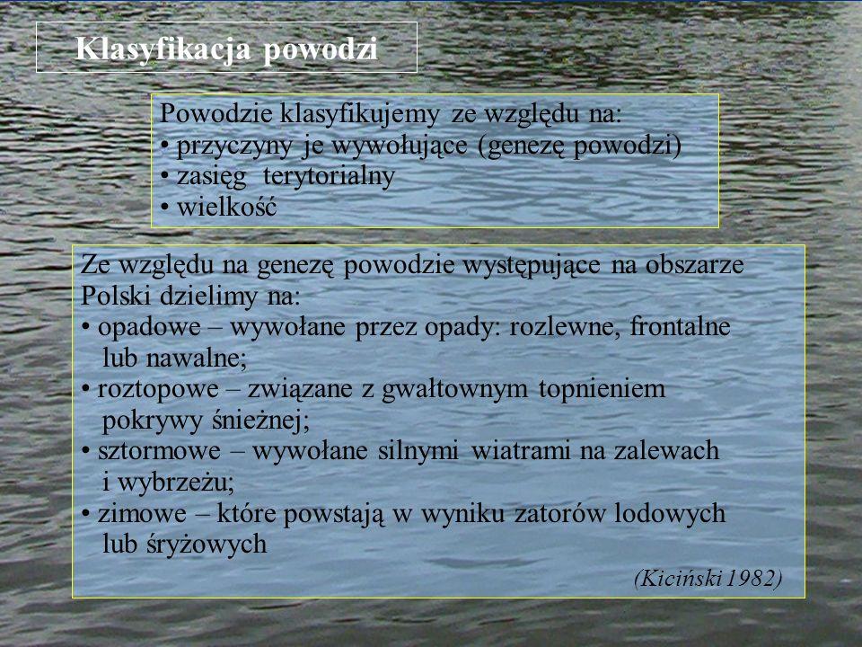 Klasyfikacja powodzi Powodzie klasyfikujemy ze względu na: