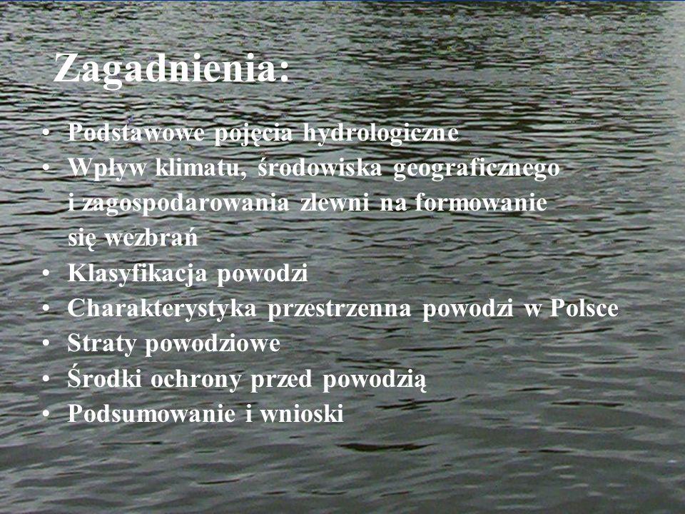 Zagadnienia: Podstawowe pojęcia hydrologiczne