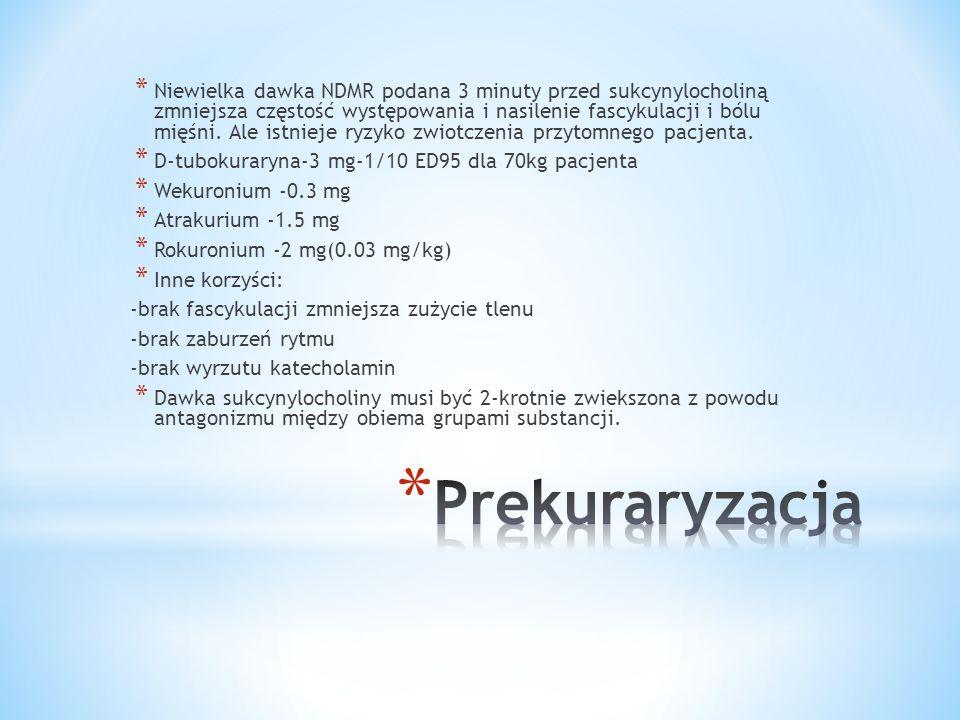 Niewielka dawka NDMR podana 3 minuty przed sukcynylocholiną zmniejsza częstość występowania i nasilenie fascykulacji i bólu mięśni. Ale istnieje ryzyko zwiotczenia przytomnego pacjenta.