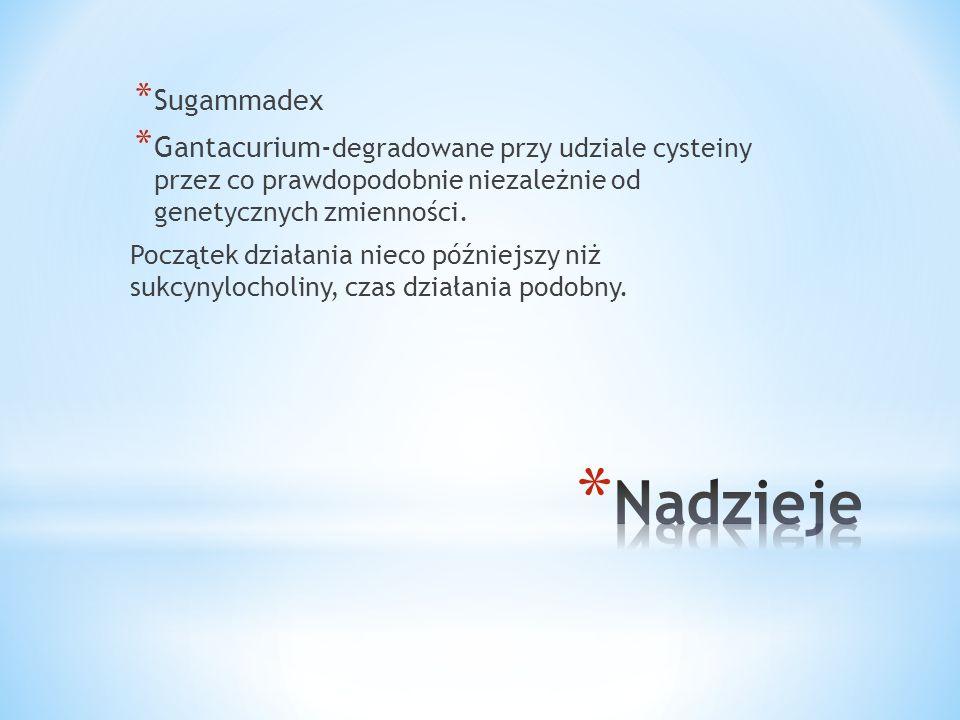 Sugammadex Gantacurium-degradowane przy udziale cysteiny przez co prawdopodobnie niezależnie od genetycznych zmienności.