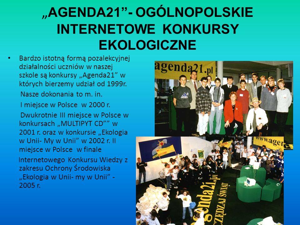 """""""AGENDA21 - OGÓLNOPOLSKIE INTERNETOWE KONKURSY EKOLOGICZNE"""