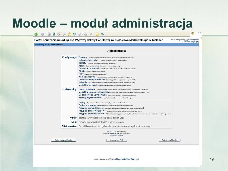 Moodle – moduł administracja