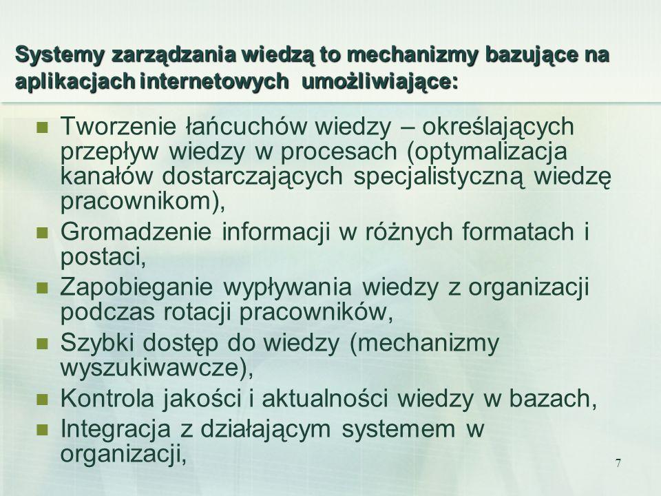 Gromadzenie informacji w różnych formatach i postaci,