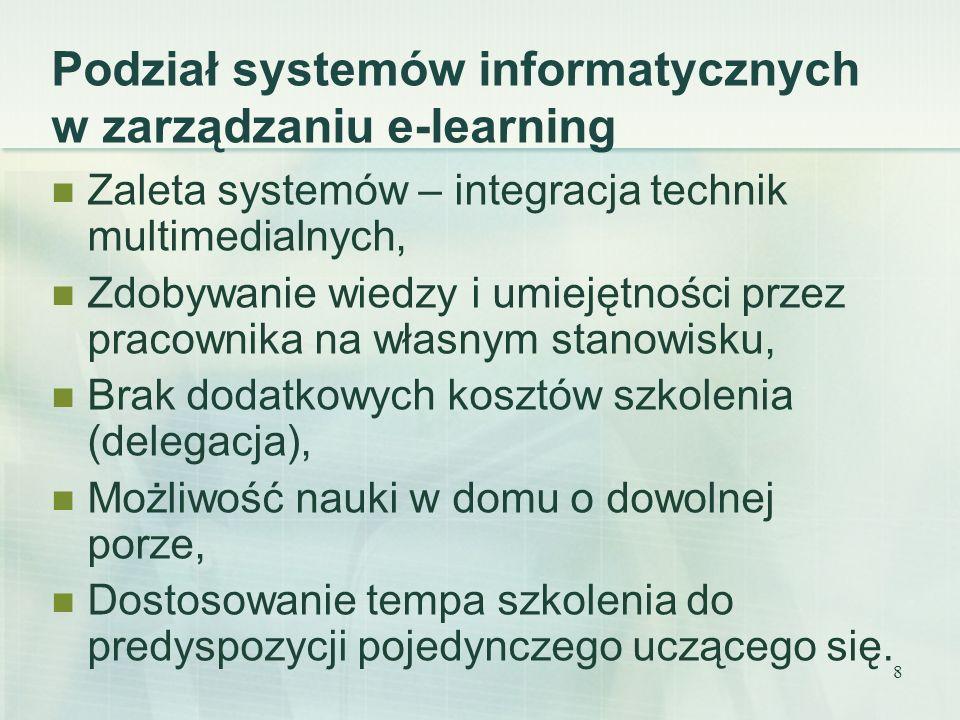 Podział systemów informatycznych w zarządzaniu e-learning