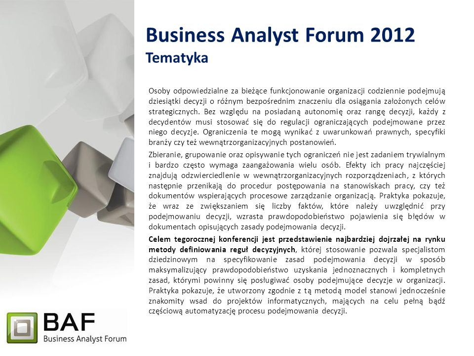 Business Analyst Forum 2012 Tematyka