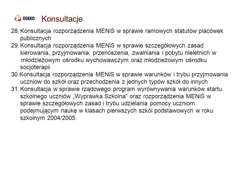 Konsultacje Konsultacja rozporządzenia MENiS w sprawie ramowych statutów placówek publicznych.
