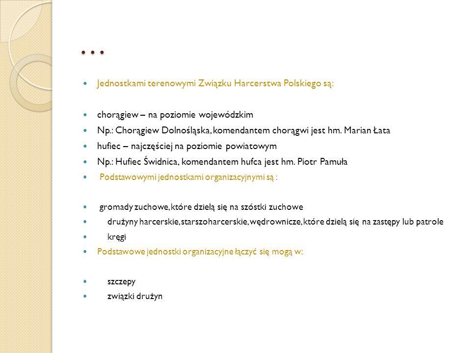 … Jednostkami terenowymi Związku Harcerstwa Polskiego są: