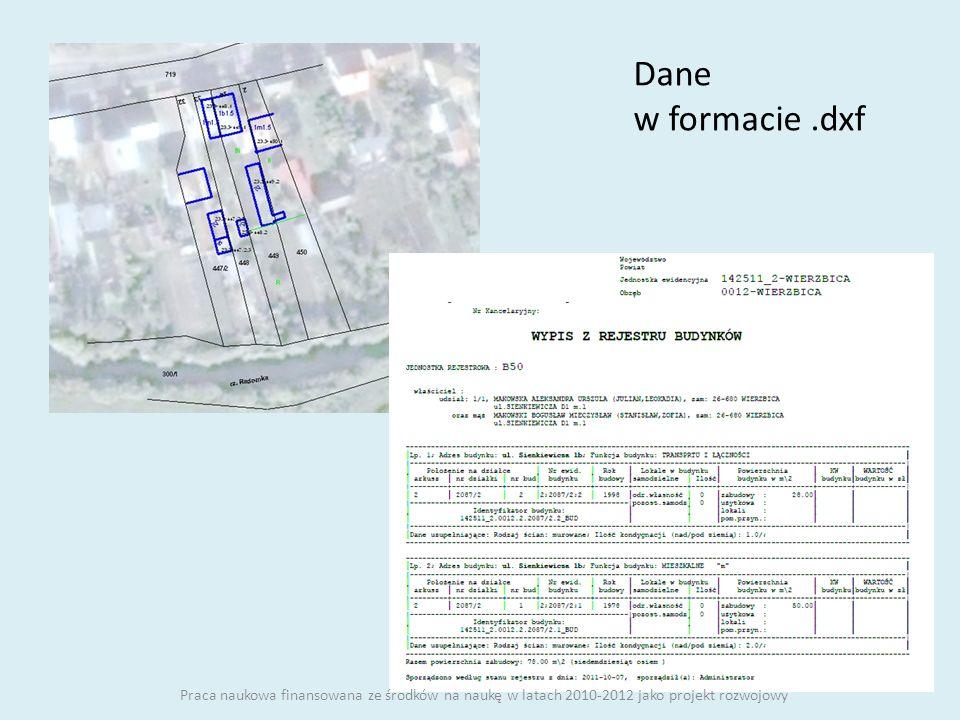 Dane w formacie .dxf Praca naukowa finansowana ze środków na naukę w latach 2010-2012 jako projekt rozwojowy.