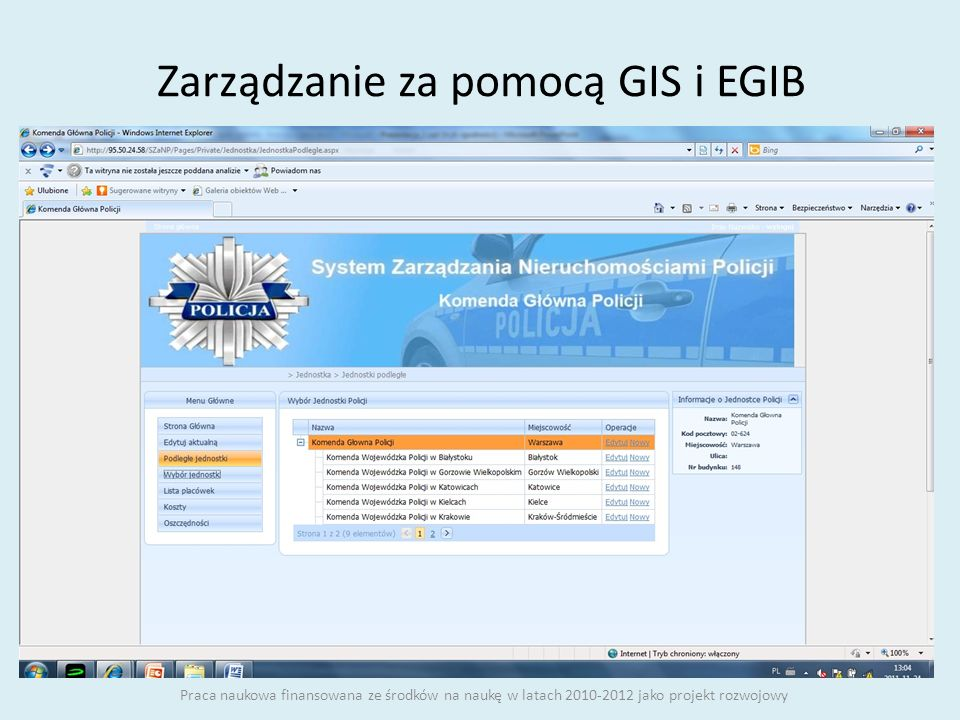 Zarządzanie za pomocą GIS i EGIB
