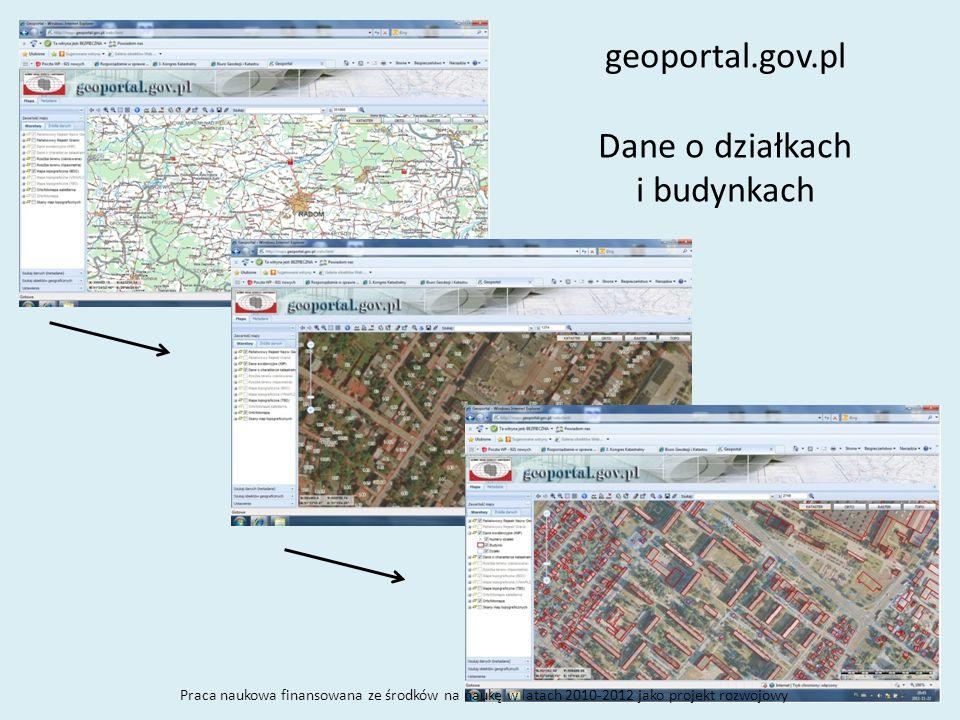 geoportal.gov.pl Dane o działkach i budynkach