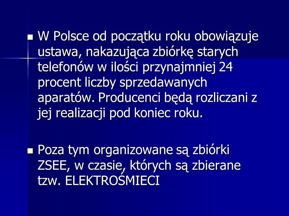 W Polsce od początku roku obowiązuje ustawa, nakazująca zbiórkę starych telefonów w ilości przynajmniej 24 procent liczby sprzedawanych aparatów. Producenci będą rozliczani z jej realizacji pod koniec roku.