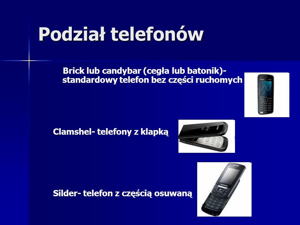 Podział telefonów Brick lub candybar (cegła lub batonik)- standardowy telefon bez części ruchomych.