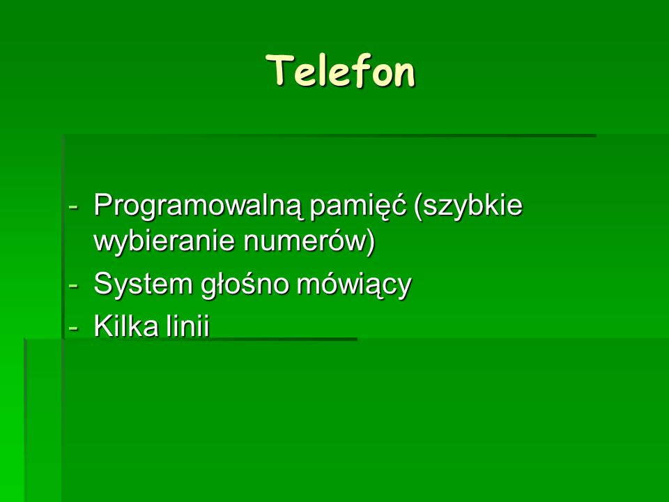 Telefon Programowalną pamięć (szybkie wybieranie numerów)