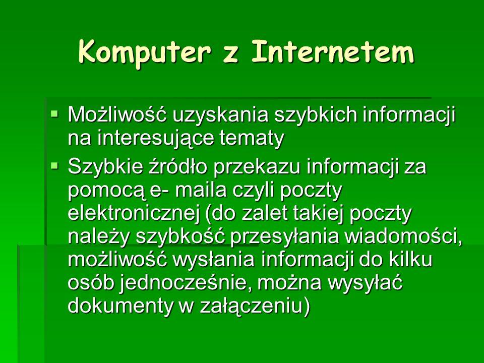 Komputer z Internetem Możliwość uzyskania szybkich informacji na interesujące tematy.