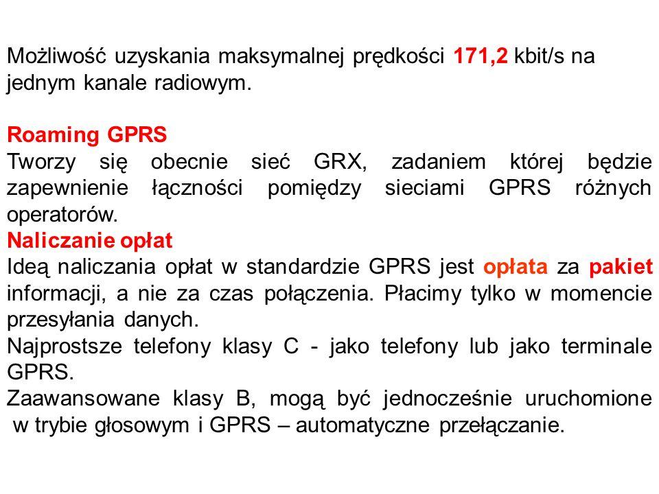 Możliwość uzyskania maksymalnej prędkości 171,2 kbit/s na jednym kanale radiowym.