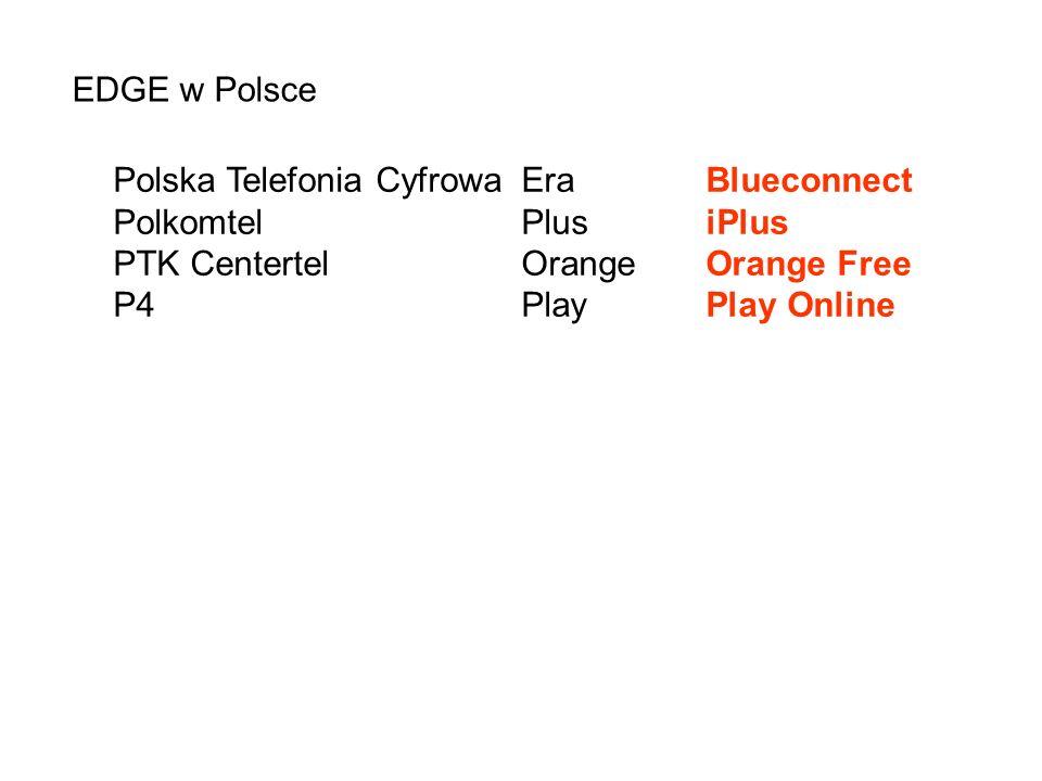 EDGE w Polsce Polska Telefonia Cyfrowa Era Blueconnect. Polkomtel Plus iPlus. PTK Centertel Orange Orange Free.