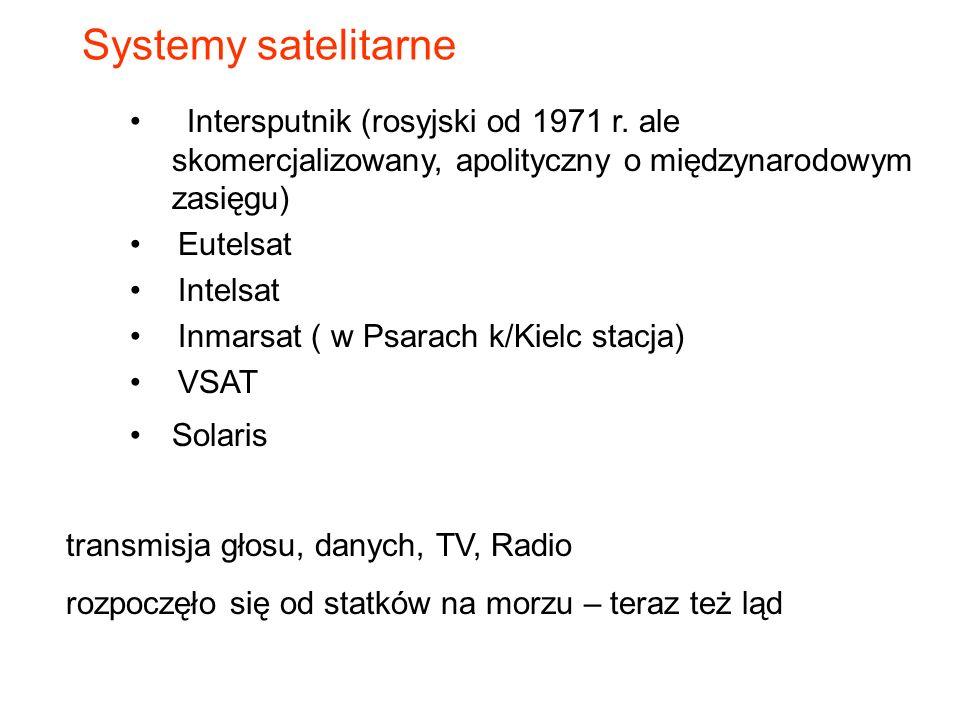 Systemy satelitarne Intersputnik (rosyjski od 1971 r. ale skomercjalizowany, apolityczny o międzynarodowym zasięgu)