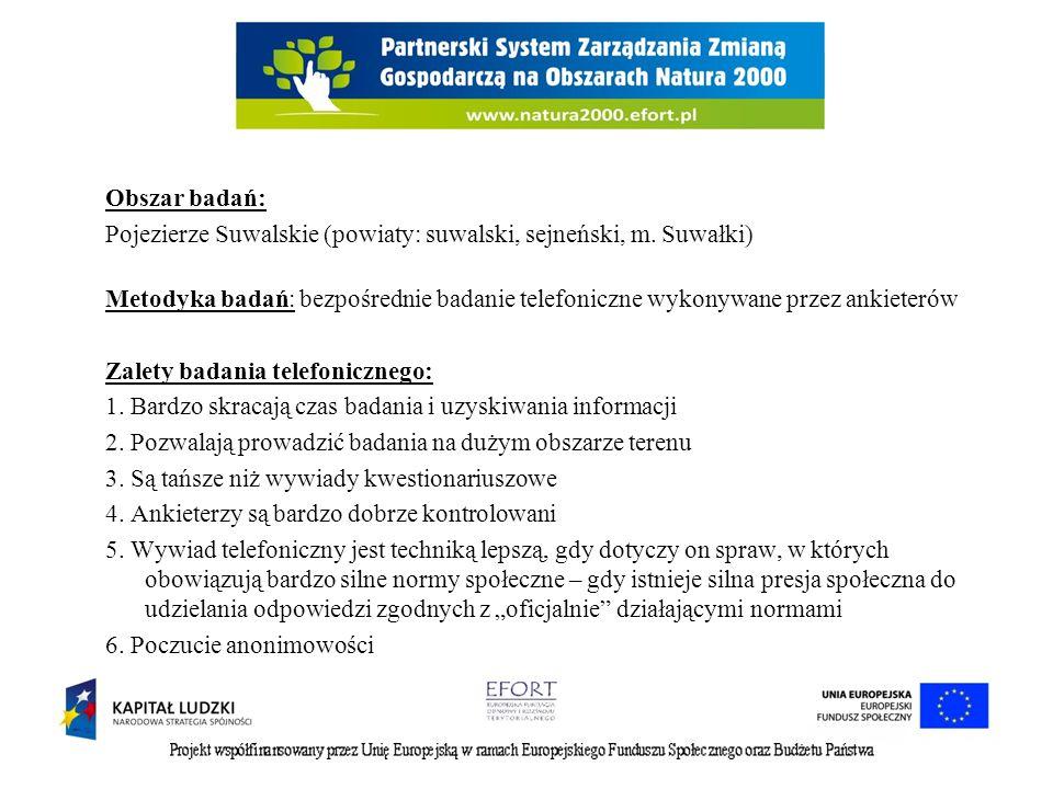 Obszar badań: Pojezierze Suwalskie (powiaty: suwalski, sejneński, m