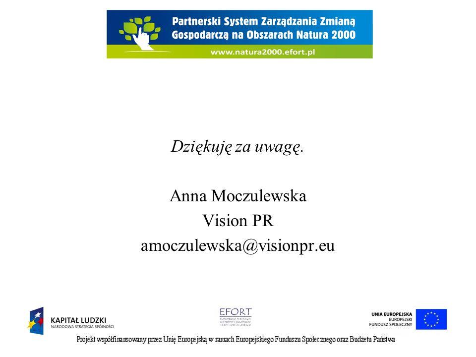 Dziękuję za uwagę. Anna Moczulewska Vision PR amoczulewska@visionpr.eu