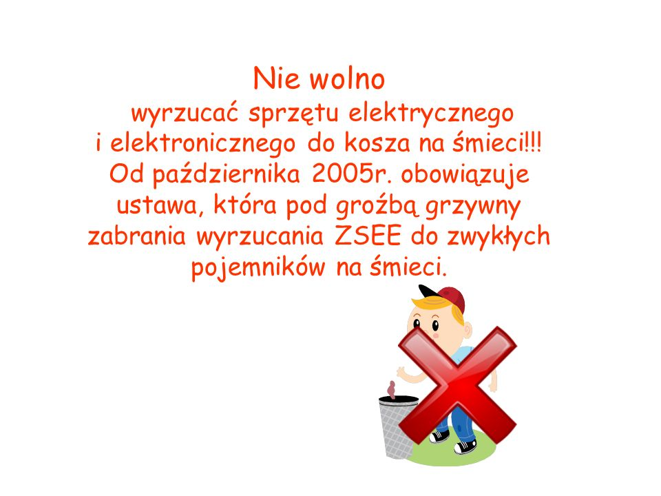 Nie wolno wyrzucać sprzętu elektrycznego i elektronicznego do kosza na śmieci!!.