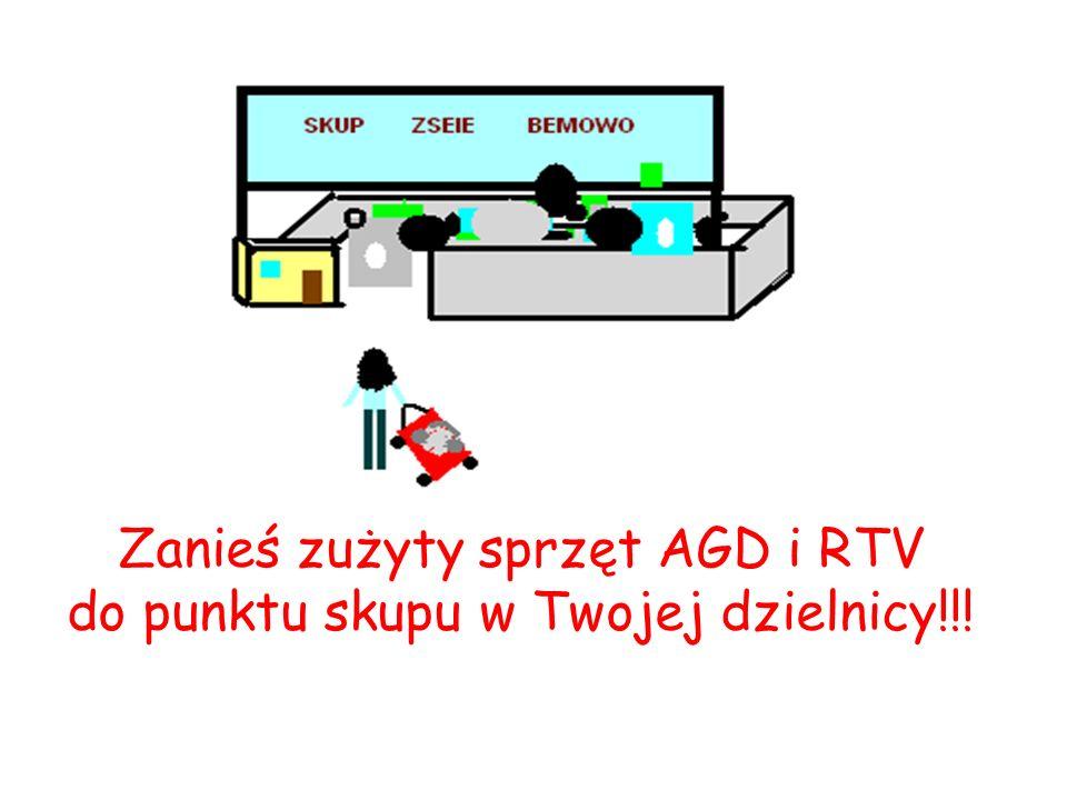 Zanieś zużyty sprzęt AGD i RTV do punktu skupu w Twojej dzielnicy!!!