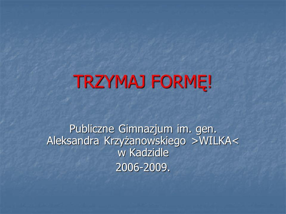 TRZYMAJ FORMĘ. Publiczne Gimnazjum im. gen. Aleksandra Krzyżanowskiego >WILKA< w Kadzidle.