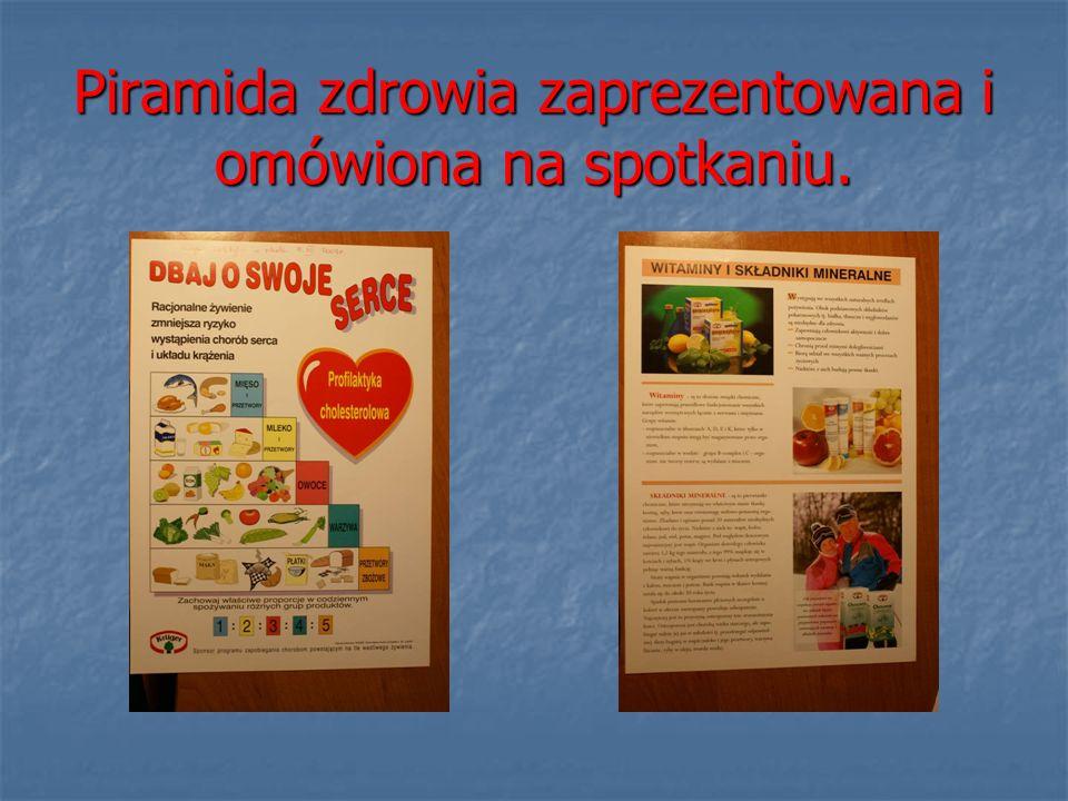 Piramida zdrowia zaprezentowana i omówiona na spotkaniu.