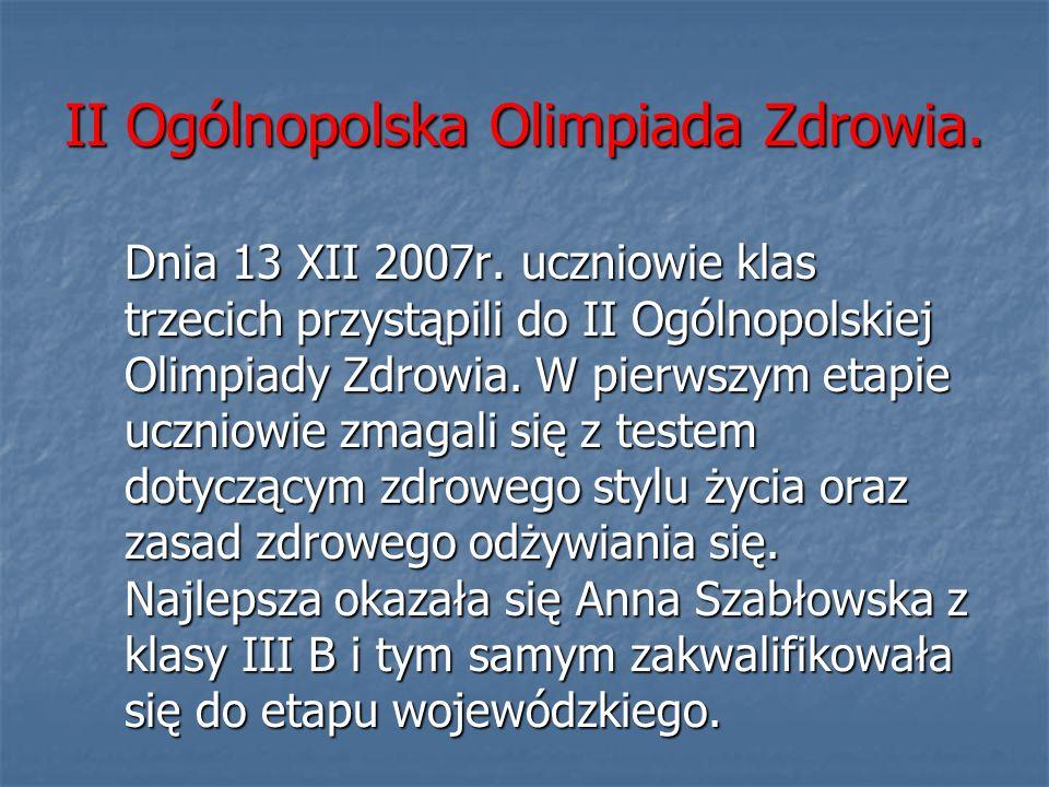 II Ogólnopolska Olimpiada Zdrowia.