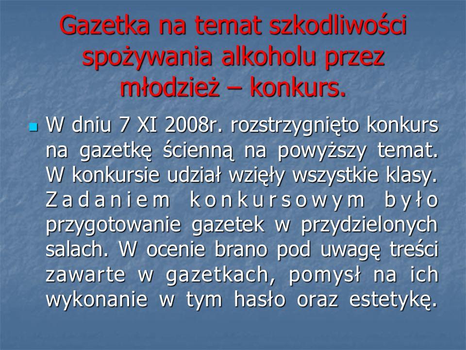 Gazetka na temat szkodliwości spożywania alkoholu przez młodzież – konkurs.