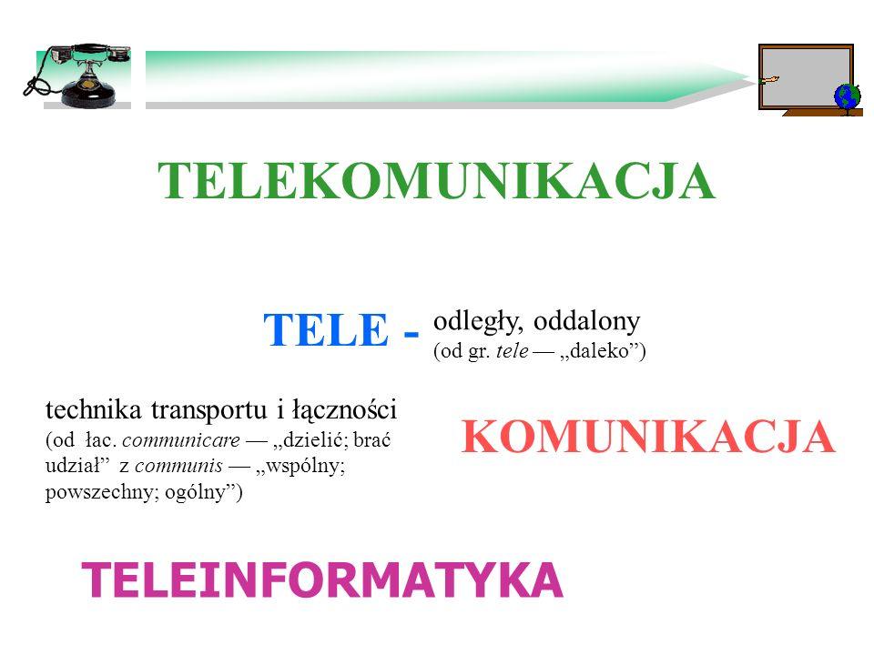 TELEKOMUNIKACJA TELE - KOMUNIKACJA TELEINFORMATYKA odległy, oddalony