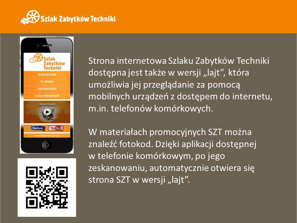 """Strona internetowa Szlaku Zabytków Techniki dostępna jest także w wersji """"lajt , która umożliwia jej przeglądanie za pomocą mobilnych urządzeń z dostępem do internetu, m.in. telefonów komórkowych."""