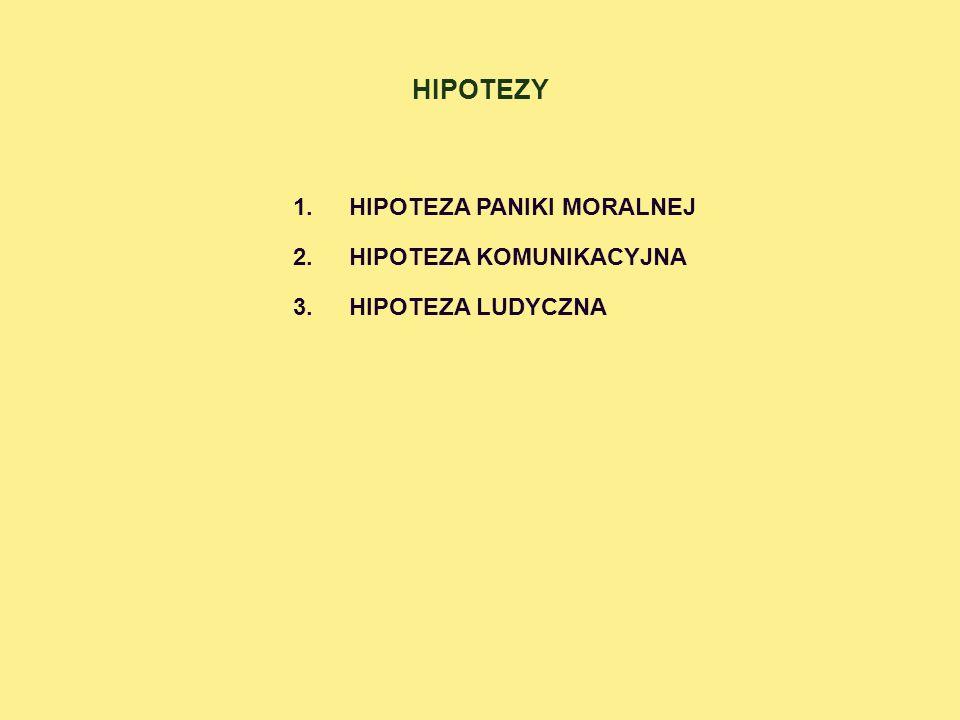 HIPOTEZY HIPOTEZA PANIKI MORALNEJ HIPOTEZA KOMUNIKACYJNA