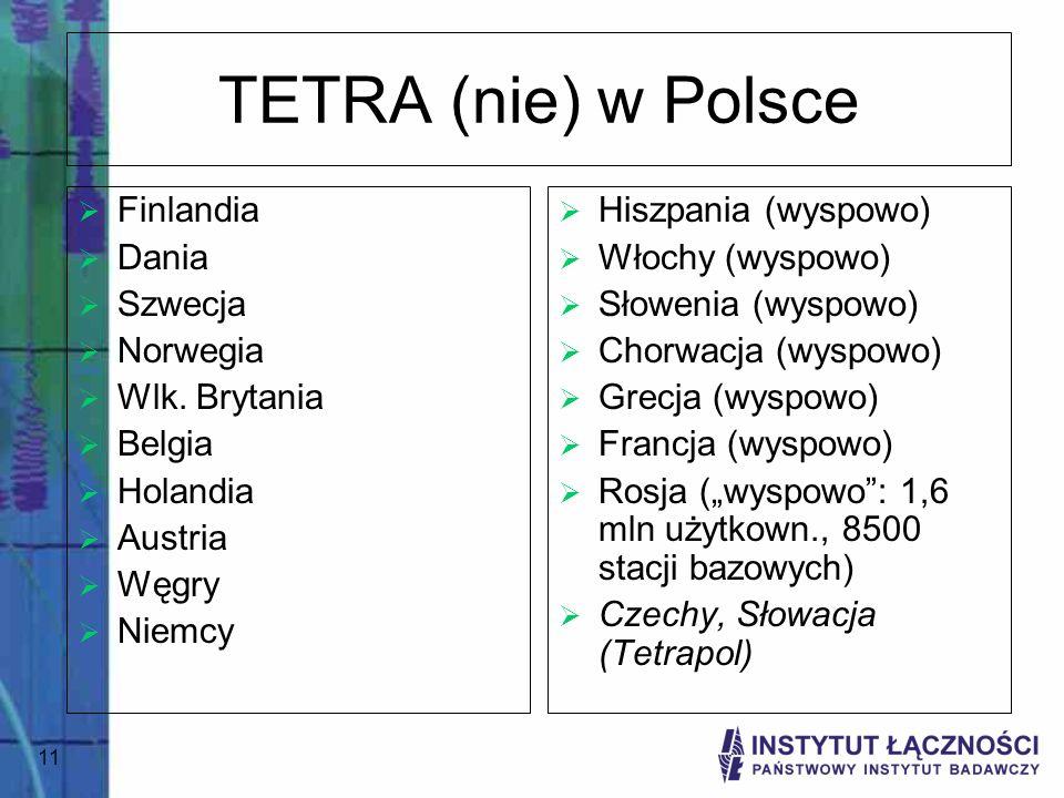 TETRA (nie) w Polsce Finlandia Dania Szwecja Norwegia Wlk. Brytania