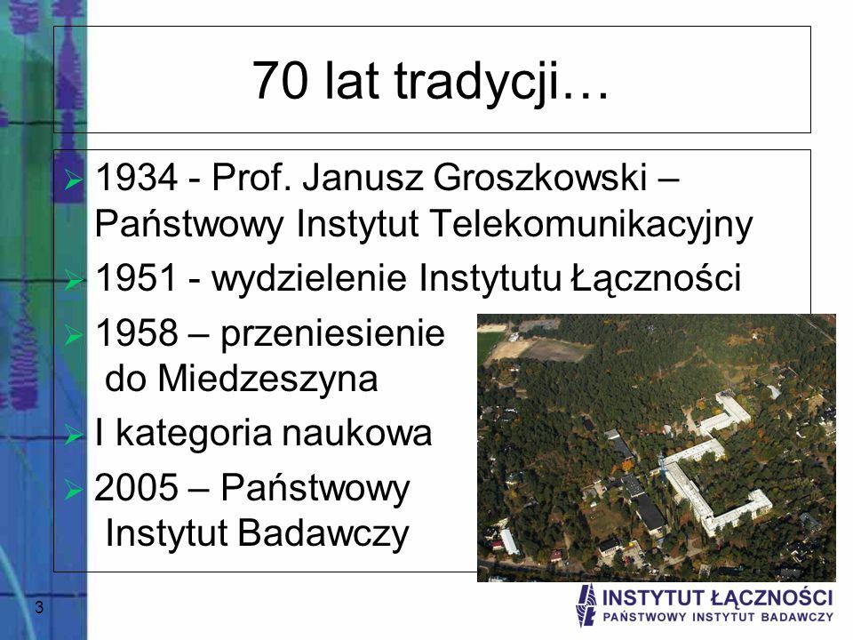 70 lat tradycji… 1934 - Prof. Janusz Groszkowski – Państwowy Instytut Telekomunikacyjny. 1951 - wydzielenie Instytutu Łączności.