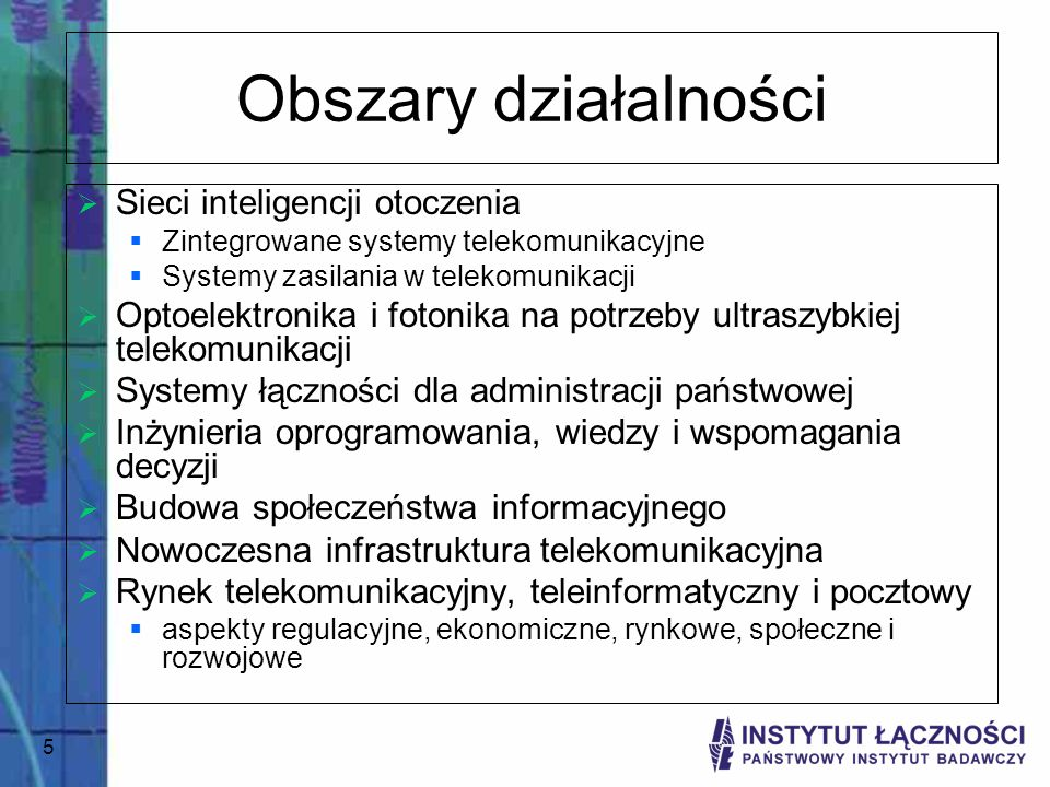 Obszary działalności Sieci inteligencji otoczenia