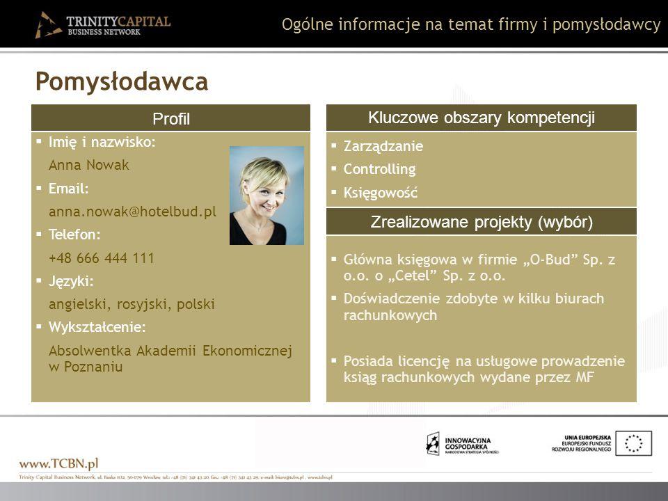 Pomysłodawca Ogólne informacje na temat firmy i pomysłodawcy Profil
