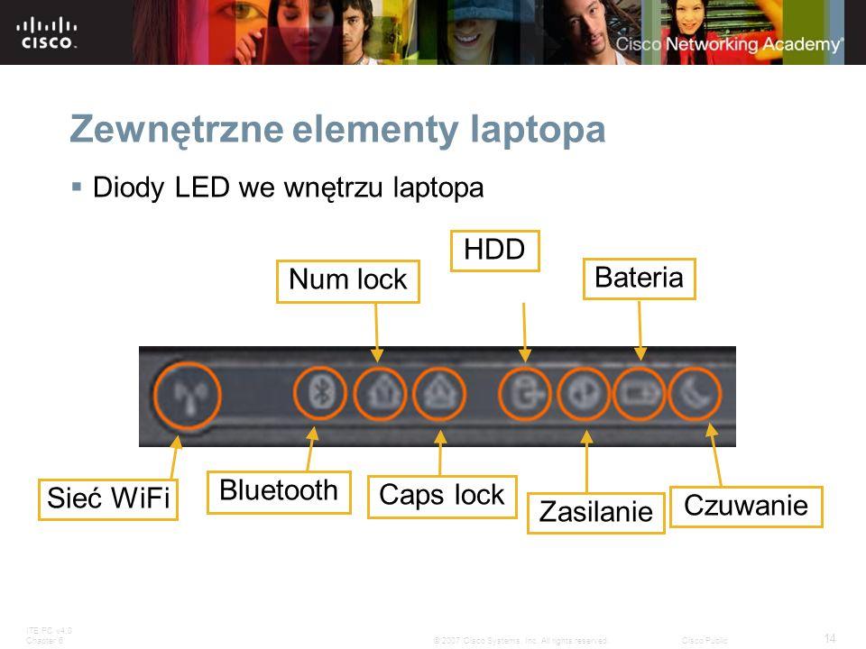 Zewnętrzne elementy laptopa