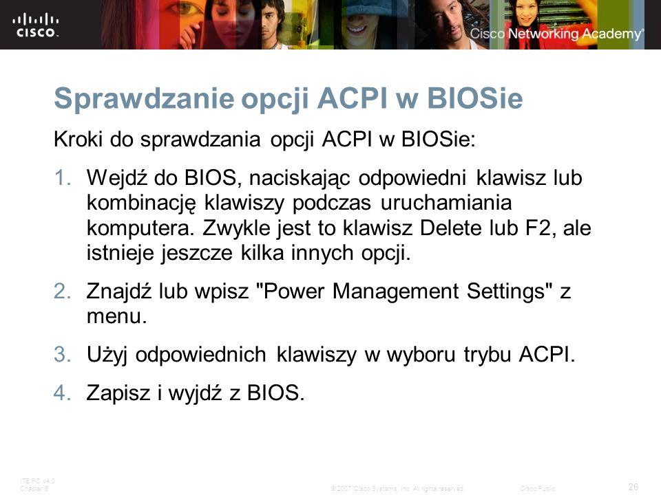 Sprawdzanie opcji ACPI w BIOSie